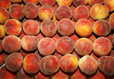 Pile of fresh summer peaches on the farmers market Stock Photography