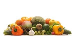 A pile of fresh and tasty fruits and vegetables Stock Images