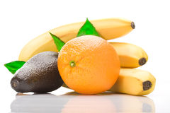 Pile of fresh tropical fruits. Over white background stock image