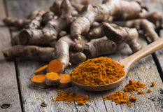 Pile of fresh turmeric roots Royalty Free Stock Photos