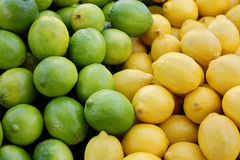 Pile of Fresh Yellow Lemons and Green Limes at Farmer's Market Stock Images
