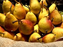 A pile of fresh yellow pears with red side lying on a pot in a store. stock image