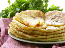 Pile of fried bread with butter Stock Images