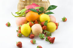 A pile of fruit. A variety of fresh fruit together Stock Photos