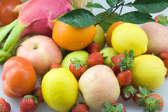 A pile of fruit. A variety of fresh fruit together Stock Photo