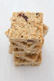 Pile of fruit flapjack. On a wooden board Stock Image