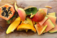 Pile of Fruit Skinds and Scraps for Compost in Garden Royalty Free Stock Image