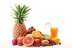 Pile of fruits with fruit juice Stock Photography