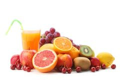 Pile of fruits with fruit juice Royalty Free Stock Photo