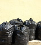 Pile of full black garbage bags Royalty Free Stock Images