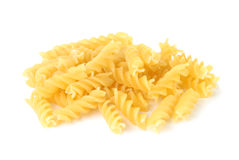 Pile of Fusilli pasta. Over white background Royalty Free Stock Image