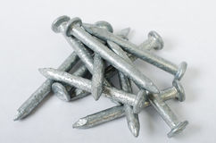 Pile of Galvanized Steel Nails. A pile of galvanized steel nails used for outdoor construction Royalty Free Stock Image