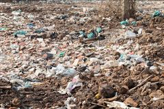 Garbage in construction site after destroy building. Pile of garbage in construction site after destroy building royalty free stock photo