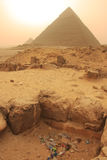 Pile of garbage near Pyramid of Khafre, Cairo Stock Image