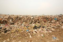 Pile of Garbage in the North East region of Thailand,In the dump Stock Photo