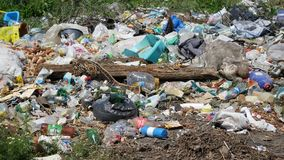 Pile of garbage in the open air.  stock images