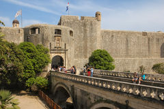 Pile gate and city walls. Dubrovnik. Croatia Royalty Free Stock Photos