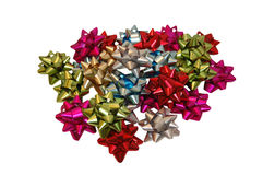 Pile of gift bows. Pile of colorful gift bows isolated on white Royalty Free Stock Images
