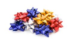 Pile of gift bows isolated on white Stock Photography
