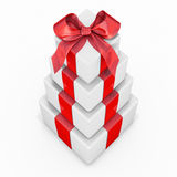 Pile of gift boxes. Isolated on white background Royalty Free Stock Photography
