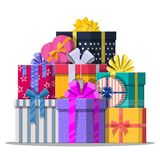 Pile of gift boxes  on white. Colorful wrapped. Sale, shopping. Present boxes different sizes with bows and ribbons. Collection for birthday and holiday Royalty Free Stock Image