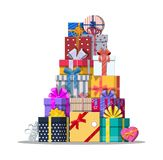 Pile of gift boxes  on white. Colorful wrapped. Sale, shopping. Present boxes different sizes with bows and ribbons. Collection for birthday and holiday Stock Images