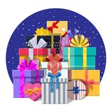 Pile of gift boxes  on white. Colorful wrapped. Sale, shopping. Present boxes different sizes with bows and ribbons. Collection for birthday and holiday Stock Photos