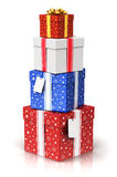 Pile of gift or present boxes with ribbon bows and label tags Royalty Free Stock Image