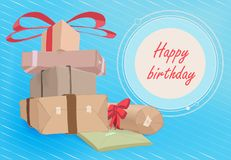 A vector pile of gift boxes in plain paper and the inscription `Happy Birthday` vector illustration