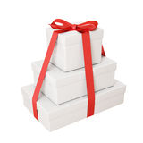 Pile of gifts with red ribbon isolated on white background Royalty Free Stock Photography