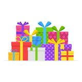 Pile gifts with ribbon and bow set. Stock Image