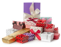 Pile of gifts on the  white background Royalty Free Stock Image