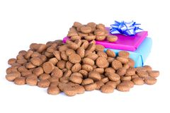 Pile of ginger nuts and presents, a Dutch tradition at Sinterklaas event Stock Images