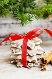 Pile of gingerbread cookies with red bow. Christmas atmosphere. Stock Photography