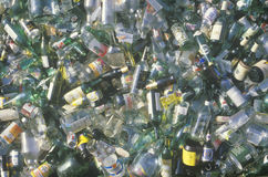 A pile of glass beverage bottles Stock Image