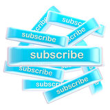 Pile of glossy bright subscribe buttons isolated Stock Image