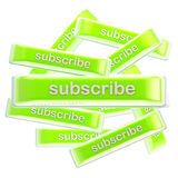 Pile of glossy bright subscribe buttons isolated Royalty Free Stock Photography