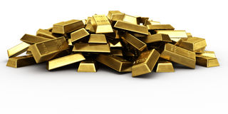 Pile of gold bars. 3d rendering of a pile of gold bars Royalty Free Stock Image