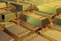 Pile of Gold bars. 3D ilustration of a pile of Gold bars raw lined Stock Photo