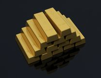 Pile of gold bars on a black background Royalty Free Stock Image