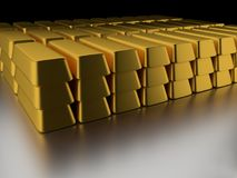 Pile of gold bars Stock Photo