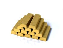 Pile of gold bars on a white background Royalty Free Stock Photos