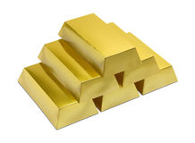 Pile of Gold Bars. On a White Background Stock Images