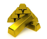 Pile of gold blocks. A big pile of gold blocks isolated on white Royalty Free Stock Photography