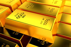 A pile of gold bullions. Stock Images