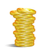 Pile of gold dollar coins Stock Photos