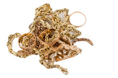 Pile of gold jewellery Royalty Free Stock Photography