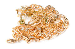 Pile of gold jewelry Stock Photos