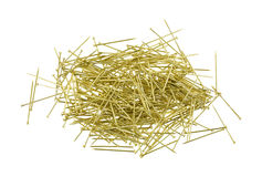 Pile of gold sequin pins Royalty Free Stock Photo
