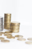 Pile of gold and silver coins isolated Royalty Free Stock Photo